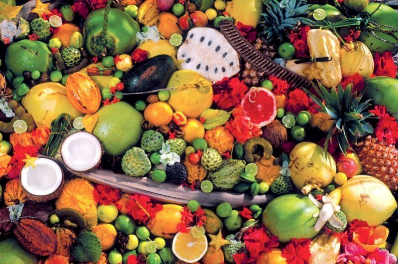 Full frame of various fresh fruits, close up